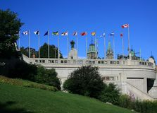 Downtown Ottawa Flags royalty free stock images