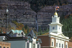 Downtown Ouray CO with flag flying Stock Photos