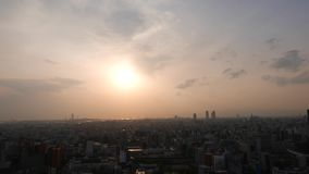 Beautiful sunset downtown panorama, setting sun over Osaka city, Japan. Downtown panorama, beautiful setting sun on pink sky. Aerial view on buildings and roofs stock video