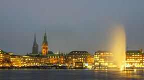 Downtown panorama of Hamburg Stock Image