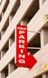 Downtown Parking Garage Red Arrow Sign Points to Park Royalty Free Stock Photos