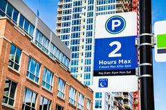 Downtown parking time limit Royalty Free Stock Photography