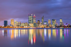 Downtown Perth skyline in Australia. At twilight Royalty Free Stock Image