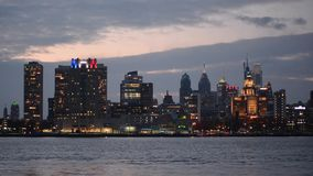 Downtown Philadelphia, Pennsylvania Skyline on the Delaware River stock footage