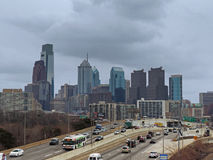 Downtown Philadelphia Skyline. The downtown Philadelphia skyline as seen from above the Schuylkill Expressway on an overcast day Stock Image
