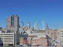 Downtown Philadelphia. The downtown Philadelphia skyline as seen from the top of a parking garage to the east with China Town off to the right Stock Image