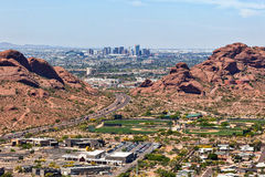 Downtown Phoenix aerial view from between the the Papago Buttes Royalty Free Stock Photo