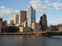 Downtown Pittsburgh. Pittsburgh Pennsylvania river view and skyline on a bright clear day Stock Photo