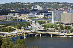 Downtown Pittsburgh with bridges Royalty Free Stock Photos