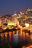 Downtown pittsburgh-buildings with river. Buildings of Downtown pittsburgh light up at night Stock Photography