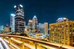 Downtown Pittsburgh, Pennsylvania. Rush hour traffic trails in downtown Pittsburgh, Pennsylvania stock photography