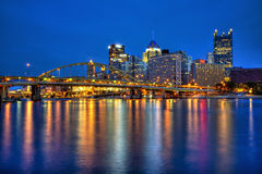 Downtown Pittsburgh, Pennsylvania at twilight Royalty Free Stock Photos