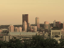 Downtown Pittsburgh at Sunset Stock Photos