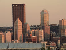 Downtown Pittsburgh at Sunset Stock Images