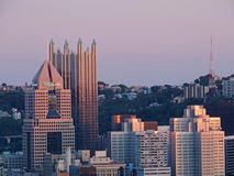 Downtown Pittsburgh at Sunset Royalty Free Stock Images
