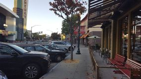 Downtown Pleasant Hill CA. Pleasant Hill, California, United States - October 05, 2016:  Vehicles on a street in downtown Pleasant Hill, California, October 5 Royalty Free Stock Photography