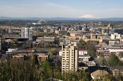 Downtown Portland Buildings Structures Bridges Cascade Range Mt Stock Photo