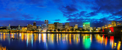 Downtown Portland cityscape at the night time Stock Photos