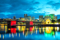 Downtown Portland cityscape at the night time stock image