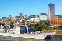 Downtown Portland and Navy Ships Stock Image
