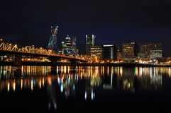 Downtown Portland Oregon at Night Royalty Free Stock Images