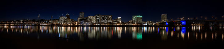 Downtown Portland Oregon at Night Stock Images