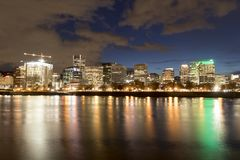 Downtown Portland Oregon at night stock photography