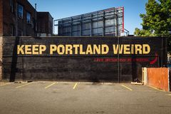 Free Downtown Portland, Oregon, USA - August 3, 2018: Keep Portland Weird Street Lettering Sign To Promote Local Business Stock Photo - 164851600