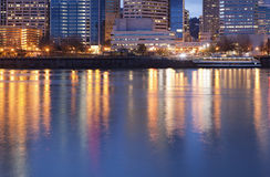 Downtown Portland, Oregon and Willamette River. At twilight Royalty Free Stock Photo