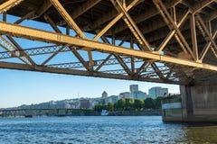 Downtown Portland under Bridge royalty free stock photos