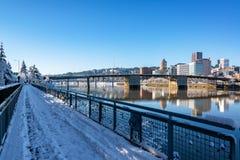 Downtown Portland and Walkway Stock Image
