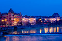 Downtown Prague at Night Stock Photography