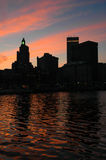 Downtown Providence, RI at Sunset. Stock Photography