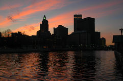 Downtown Providence, RI at Sunset. Royalty Free Stock Images