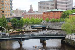 Downtown Providence. Skyline of Providence city, Rhode Island. Cityscape in New England region of the United States royalty free stock photos