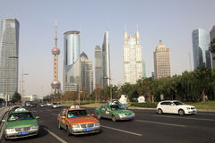 Downtown in Pudong, Shanghai Stock Photo