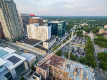 Downtown Raleigh at sunset in June. Overlooking a construction site in downtown Raleigh, NC Royalty Free Stock Images