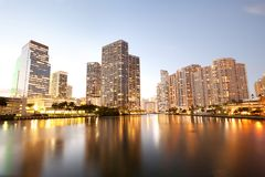 Downtown and real estates developments at Brickell Key. Miami, Florida, USA Royalty Free Stock Photos