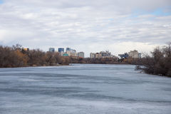 Downtown Regina Skyline. View of downtown Regina Saskatchewan from the shore of Wascana Lake Royalty Free Stock Photos