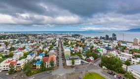 Downtown Reykjavik aerial Time Lapse stock video