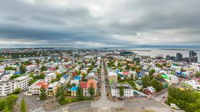 Downtown Reykjavik aerial Time Lapse stock footage