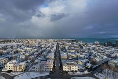 Downtown Reykjavik aerial view stock image