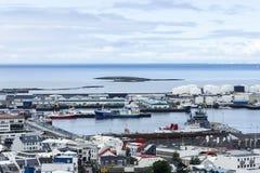 Downtown Reykjavik, Iceland. Downtown with many ships Reykjavik, Iceland Stock Image