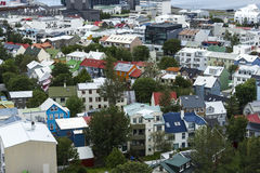 Downtown of Reykjavik with many houses, Iceland Royalty Free Stock Image