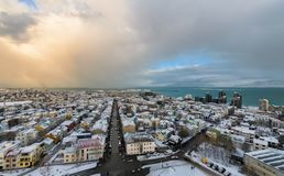 Downtown Reykjavik in winter royalty free stock photos
