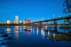 Downtown Richmond, Virginia skyline. And the James River at twilight stock photos