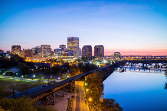 Downtown Richmond, Virginia skyline. And the James River at twilight royalty free stock image