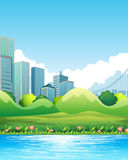 Downtown. River scene with downtown in the background royalty free illustration