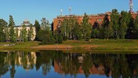 Downtown riverside park panorama stock footage
