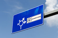 Downtown Road Traffic Sign Royalty Free Stock Photos